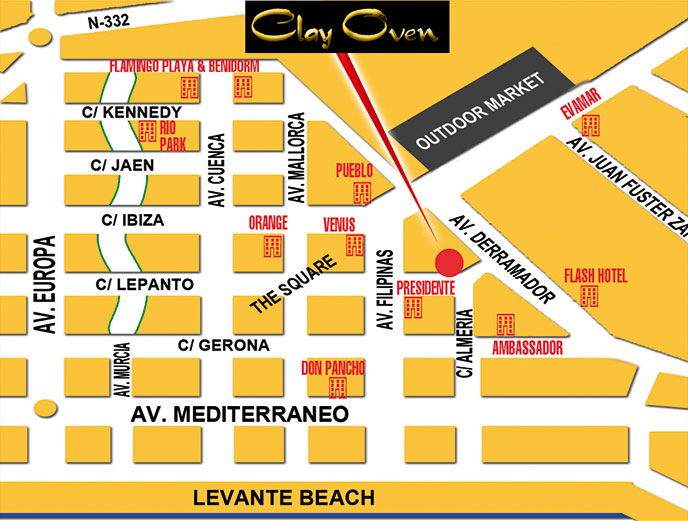 map of the Clay Oven Inadian restaurant in Benidorm